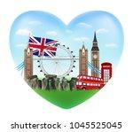 love england heart shape logo... | Shutterstock .eps vector #1045525045