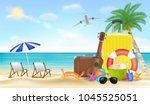 summer vacation with travel bag ... | Shutterstock .eps vector #1045525051