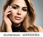 beautiful young woman with long ... | Shutterstock . vector #1045533301