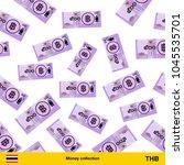 flying thai baht banknotes....   Shutterstock .eps vector #1045535701