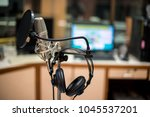 close up of microphone in... | Shutterstock . vector #1045537201