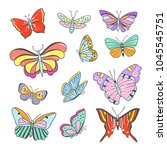 butterfy collection. beautiful... | Shutterstock .eps vector #1045545751