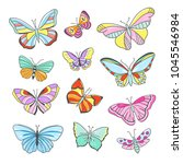 colorful butterflies hand drawn ... | Shutterstock .eps vector #1045546984
