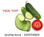 tomato and green cucumber isolated on a white background - stock photo