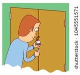 man unlocking a door | Shutterstock .eps vector #1045551571