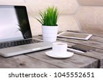 stylish workspace with computer ...   Shutterstock . vector #1045552651