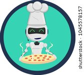 robot chef in the cap with... | Shutterstock .eps vector #1045578157