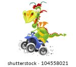 dragon on the quadrocycle | Shutterstock .eps vector #104558021