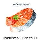 salmon steak  watercolor hand... | Shutterstock . vector #1045591441