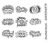 eco vector organic labels  bio... | Shutterstock .eps vector #1045596979