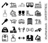 heavy icons. set of 25 editable ... | Shutterstock .eps vector #1045597831