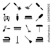broom icons. set of 16 editable ... | Shutterstock .eps vector #1045598905