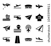 aircraft icons. set of 16... | Shutterstock .eps vector #1045599811