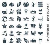 beach icons. set of 36 editable ... | Shutterstock .eps vector #1045601464