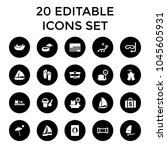 vacation icons. set of 20... | Shutterstock .eps vector #1045605931
