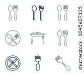 diner icons. set of 9 editable... | Shutterstock .eps vector #1045607125