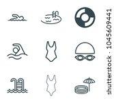 swim icons. set of 9 editable... | Shutterstock .eps vector #1045609441