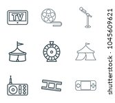 entertainment icons. set of 9... | Shutterstock .eps vector #1045609621