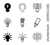 fluorescent icons. set of 9... | Shutterstock .eps vector #1045611181