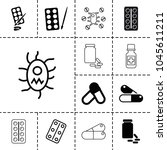 aspirin icons. set of 13... | Shutterstock .eps vector #1045611211