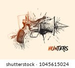 hunters conceptual gun pistols  ... | Shutterstock .eps vector #1045615024