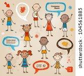 hand drawn children and speech... | Shutterstock .eps vector #104561885