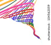 Abstract background line of color pencil as rainbow illustration - stock photo