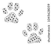 paw footprints collage... | Shutterstock .eps vector #1045628059