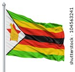 flag of zimbabwe with flagpole... | Shutterstock . vector #104563241
