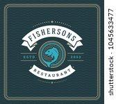 seafood restaurant logo vector... | Shutterstock .eps vector #1045633477