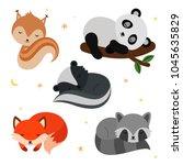 adorable flat sleeping animals... | Shutterstock .eps vector #1045635829