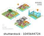 set of isolated isometric... | Shutterstock .eps vector #1045644724