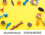 Stock photo grooming equipment with brushes and toys for care and training pet yellow background top view mock 1045648285