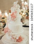 luxurious wedding cake with... | Shutterstock . vector #1045651117