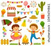 set of cartoons for festa... | Shutterstock . vector #1045654861