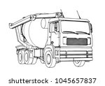 sketch of concrete mixer vector  | Shutterstock .eps vector #1045657837