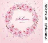 sakura. branch with pink... | Shutterstock .eps vector #1045661089