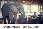 elephant in the room  modern... | Shutterstock . vector #1045670884