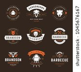 grill restaurant logos and... | Shutterstock .eps vector #1045676167