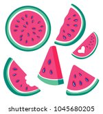watermelon vector set of red... | Shutterstock .eps vector #1045680205