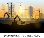 silhouette of engineer and... | Shutterstock .eps vector #1045687699