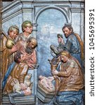 Small photo of ZARAGOZA, SPAIN - MARCH 3, 2018: The carved polychrome relief of the Adoration of Shepherds on the main altar in church Iglesia de San Gil Abad (1628).