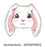 hand drawn cute rabbit  sketch... | Shutterstock .eps vector #1045699801