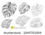 universal trend dotty leaves... | Shutterstock .eps vector #1045701004