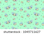 hand drawn cute big butterflies ... | Shutterstock .eps vector #1045711627