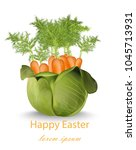 happy easter card with carrots... | Shutterstock .eps vector #1045713931