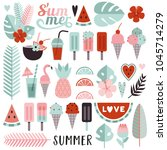 set of bright tropical elements ... | Shutterstock .eps vector #1045714279