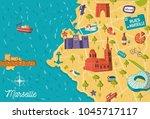 cartoon style france marseille... | Shutterstock .eps vector #1045717117