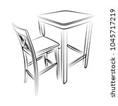 set of one bar stools and table ... | Shutterstock .eps vector #1045717219