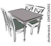 lunch table with four chair ... | Shutterstock .eps vector #1045726501